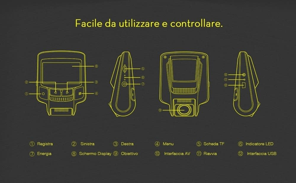 alfawise-mb05-f1-4-review-controlli Recensione Alfawise MB05 dashcam