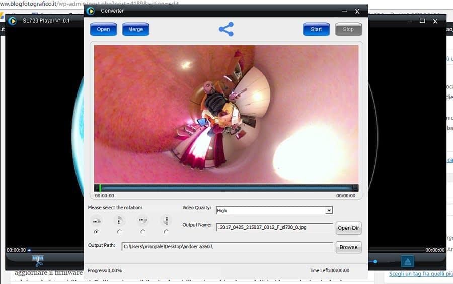 SL720 Recensione Andoer A360i - videocamera a 360° con 2 lenti