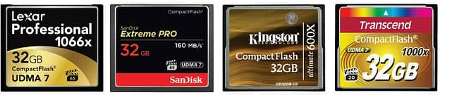 Compact-flash-confronto-top10 Le migliori schede Compact Flash del 2021 per fotocamere reflex