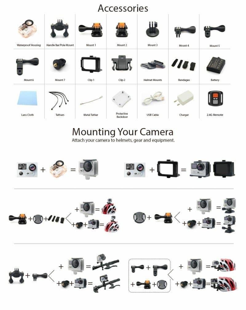 eken-h8plus-accessori Recensione Eken H8 Pro e Plus