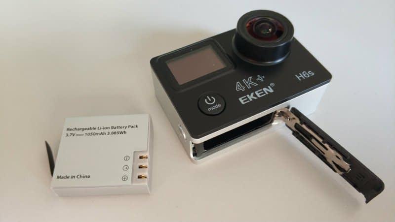 recensione-Eken-H6s-batteria Recensione Eken H6s action cam 4k economica con stabilizzatore e telecomando